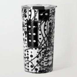 analog synthesizer system - modular black and white Travel Mug