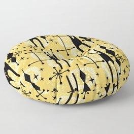 Retro Atomic Mid Century Pattern 771 Yellow Floor Pillow