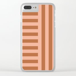 Perpendicular Lines terracota and pink Clear iPhone Case