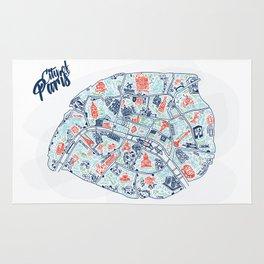 Paris city map illustration Rug
