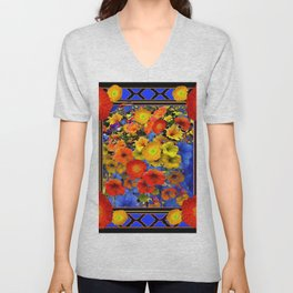 BLUE ABSTRACT OF POPPIES & YELLOW PETUNIA FLOWERS Unisex V-Neck