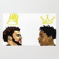 kendrick lamar Area & Throw Rugs featuring 2 Kings. Kendrick Cole by MikeHanz