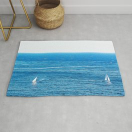 Sailing boats in the Mediterranean sea Rug
