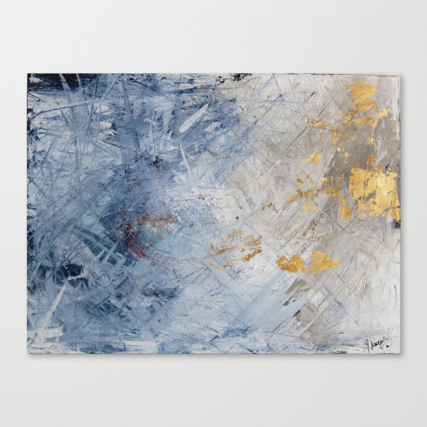 Blue white and gold abstract painting canvas print