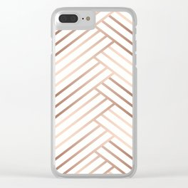 Simple pattern . Beige, brown diagonal lines on white. Clear iPhone Case
