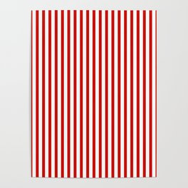 Red & White Maritime Vertical Small Stripes - Mix & Match with Simplicity of Life Poster