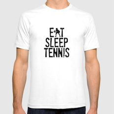 Eat Sleep Tennis LARGE White Mens Fitted Tee
