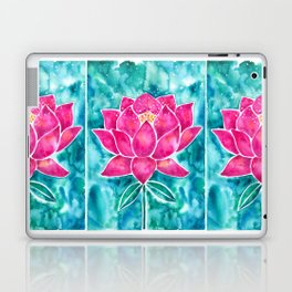 Sacred Lotus – Magenta Blossom with Turquoise Wash Laptop & iPad Skin