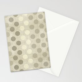 """Nude Burlap Texture and Polka Dots"" Stationery Cards"