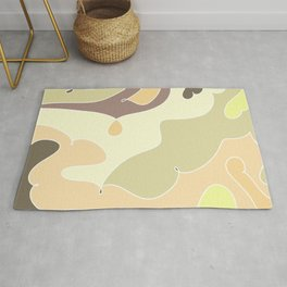 Cute doodles, simple funny pattern in delicate colors for kids, beige, peach, puple, yellow tints Rug
