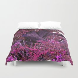 Pink red alien planet tree bright Duvet Cover