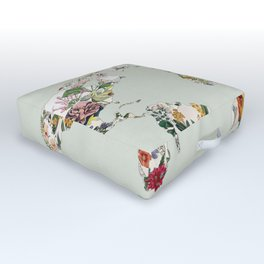 Vintage Botanical World Green Outdoor Floor Cushion