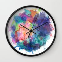 water colour Wall Clocks featuring Water Colour Kaleidoscope by a little Piece of Pie