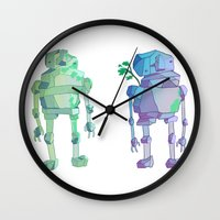 giants Wall Clocks featuring Stone Giants by Emily Joan Campbell