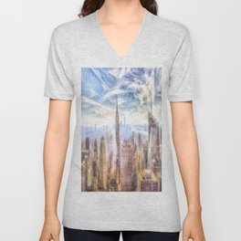 New York Manhattan Skyline Art Unisex V-Neck