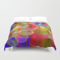 psychadelic Duvet Covers featuring Blowing Bubbles by thea walstra