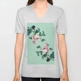 Roses Mint Green + Pink Unisex V-Neck