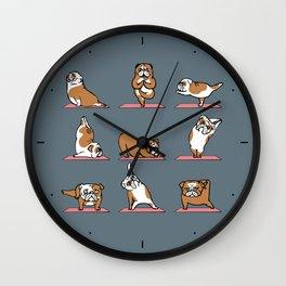 English Bulldog Yoga Wall Clock