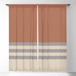 Slate Violet Gray SW9155 and Creamy Off White SW7012 Horizontal Stripes on Cavern Clay SW 7701 Blackout Curtain