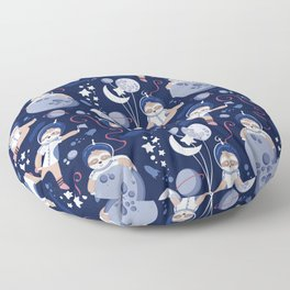 Best Space To Be // navy blue background indigo moons and cute astronauts sloths Floor Pillow