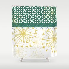 Boho dandelion green and yellow Shower Curtain