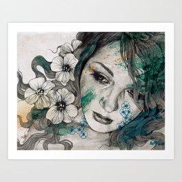 Cleopatra's Sling (flower tattoo lady portrait drawing) Art Print