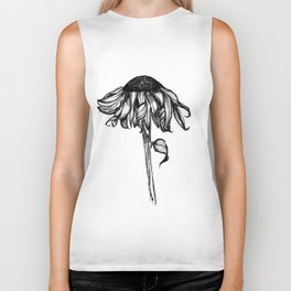 Wilted Flower Ink Drawing Biker Tank