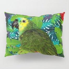RED HIBISCUS & GREEN PARROT JUNGLE GRAY-GREEN ART Pillow Sham