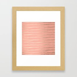 Abstract Stripes Gold Coral Pink Framed Art Print