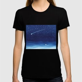 Falling star, shooting star, sailboat ocean waves blue sea T-shirt