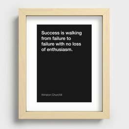 Winston Churchill quote about success [Black Edition] Recessed Framed Print
