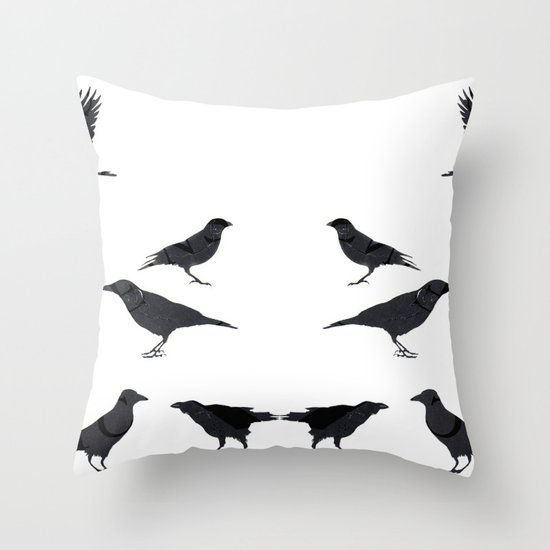 kargalar (crows) Throw Pillow
