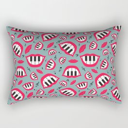 Piano smile pattern in grey&red Rectangular Pillow