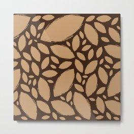 Painted Tree Leaves V2 - Brown Metal Print