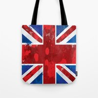 union jack Tote Bags featuring Union Jack by Riley