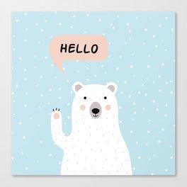 Cute Polar Bear in the Snow says Hello Canvas Print