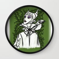 maleficent Wall Clocks featuring Maleficent by carotoki