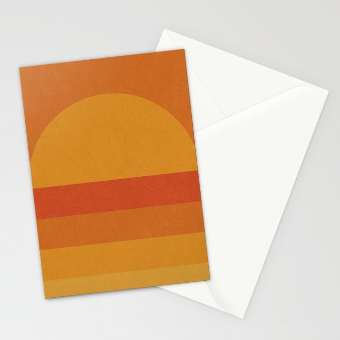 Retro Geometric Sunset Stationery Cards
