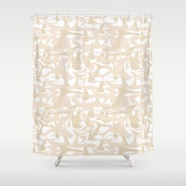 Cool Whale Tail Cream Pattern on White Shower Curtain