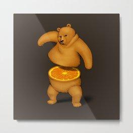Orange Bear Metal Print