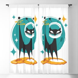 Atomic Space Cat Mid Century Modern Art Scooter Blackout Curtain