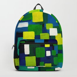 """Original Abstract Acrylic Painting by  """"City Lights"""" Colorful Geometric Square Pattern Gre Backpack"""