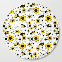 Honey Bumble Bee Yellow Floral Pattern Cutting Board