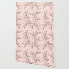 Rose Gold Pink Palm Leaves on Blush Wallpaper
