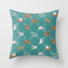 Tummy Rubs Please! (Poodles) Throw Pillow