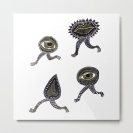 running surreal eyes mouth and nose creatures Metal Print