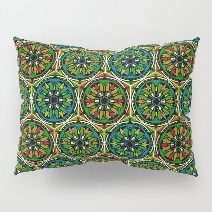 Boho green mandalas Pillow Sham