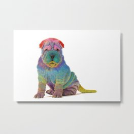 Colorful Sharpei Metal Print