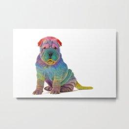 Colorful Sharpei Metal Print