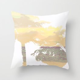 Palm Tree Beach Silhouette Southern California Print Throw Pillow